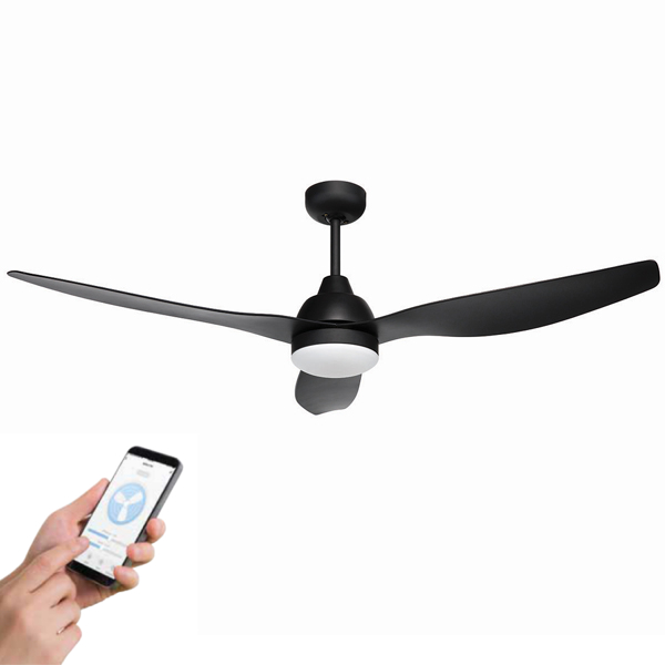bahama deisgner smart fan with light, image also shows a hand with a smart phone to demostrate the fan can be controlled by a phone app