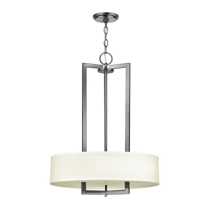 Hampton 3203AN 500mm Pendant Nickel with White Shade