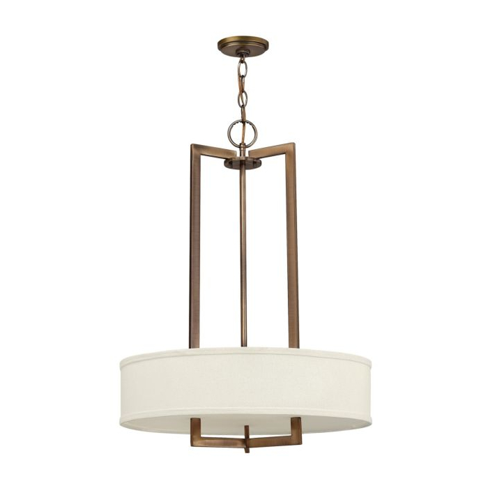 Hampton 3203BR 500mm Pendant Brass with White Shade