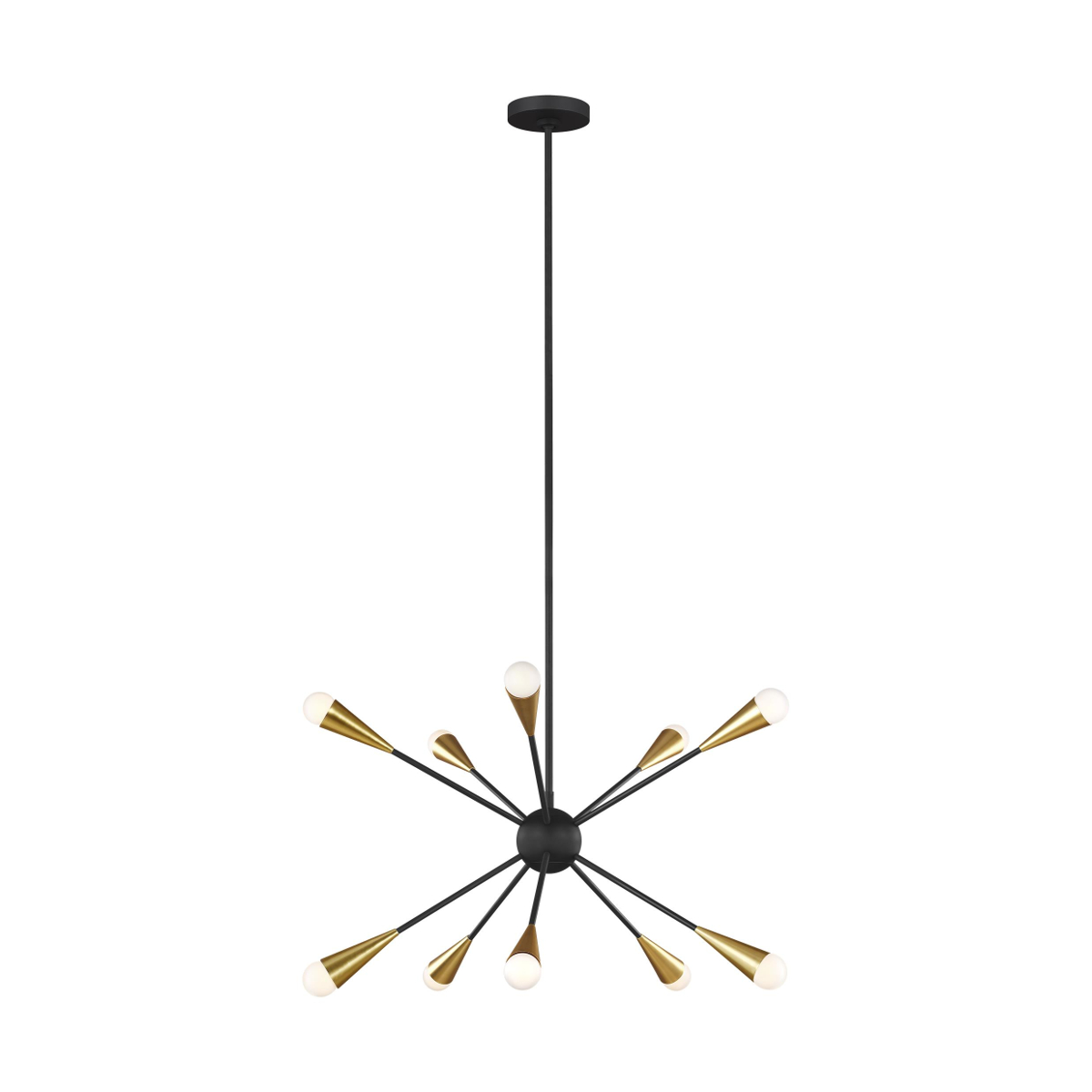 Sputnik Style 10 Light Pendant with Black inner ball and arms with burnished brass lampholders