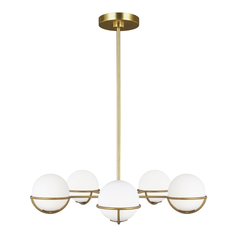 Apollo EC1055 Burnished Brass 800mm Pendant with White Glass