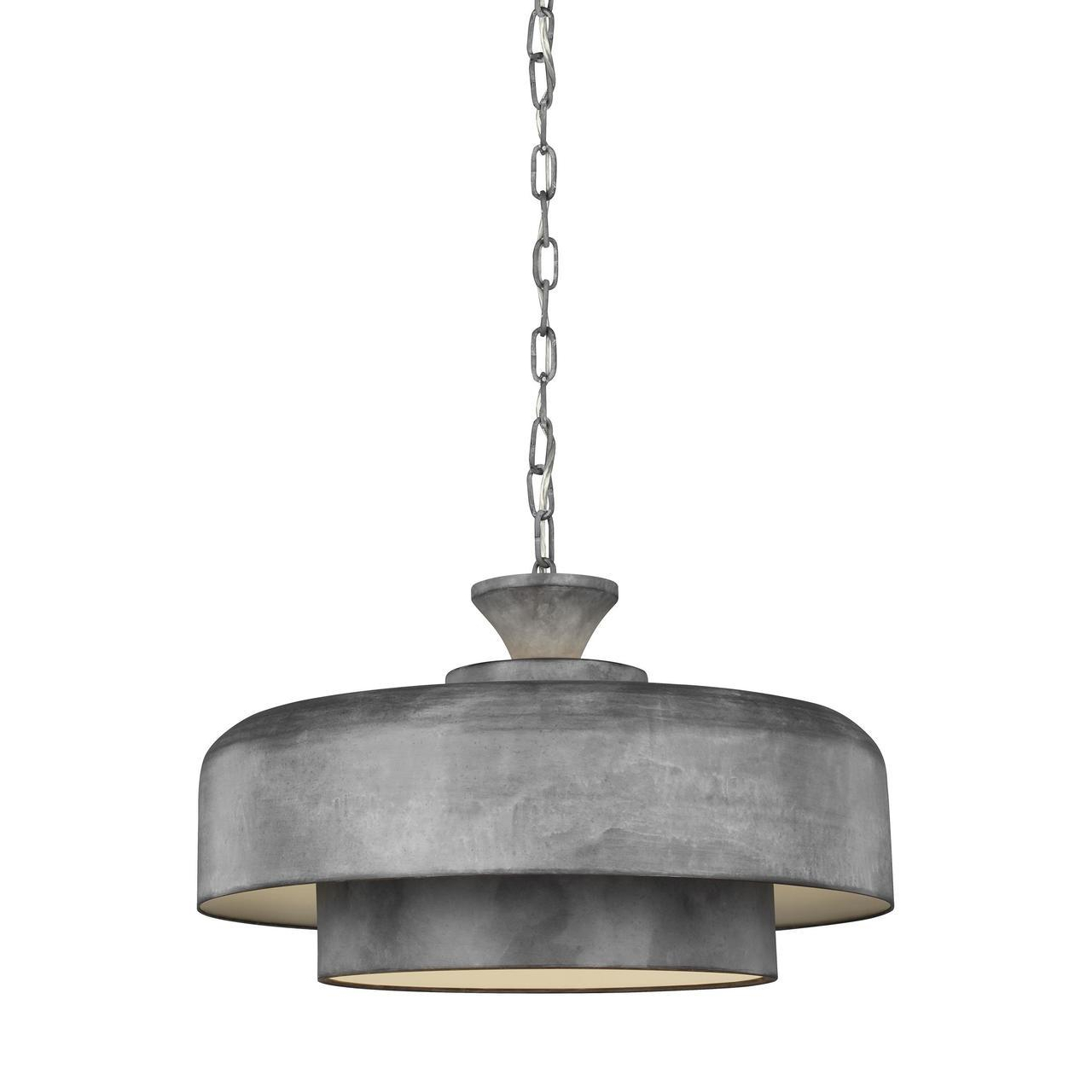 Galvanised Steel Finish pendant with Inner Shade