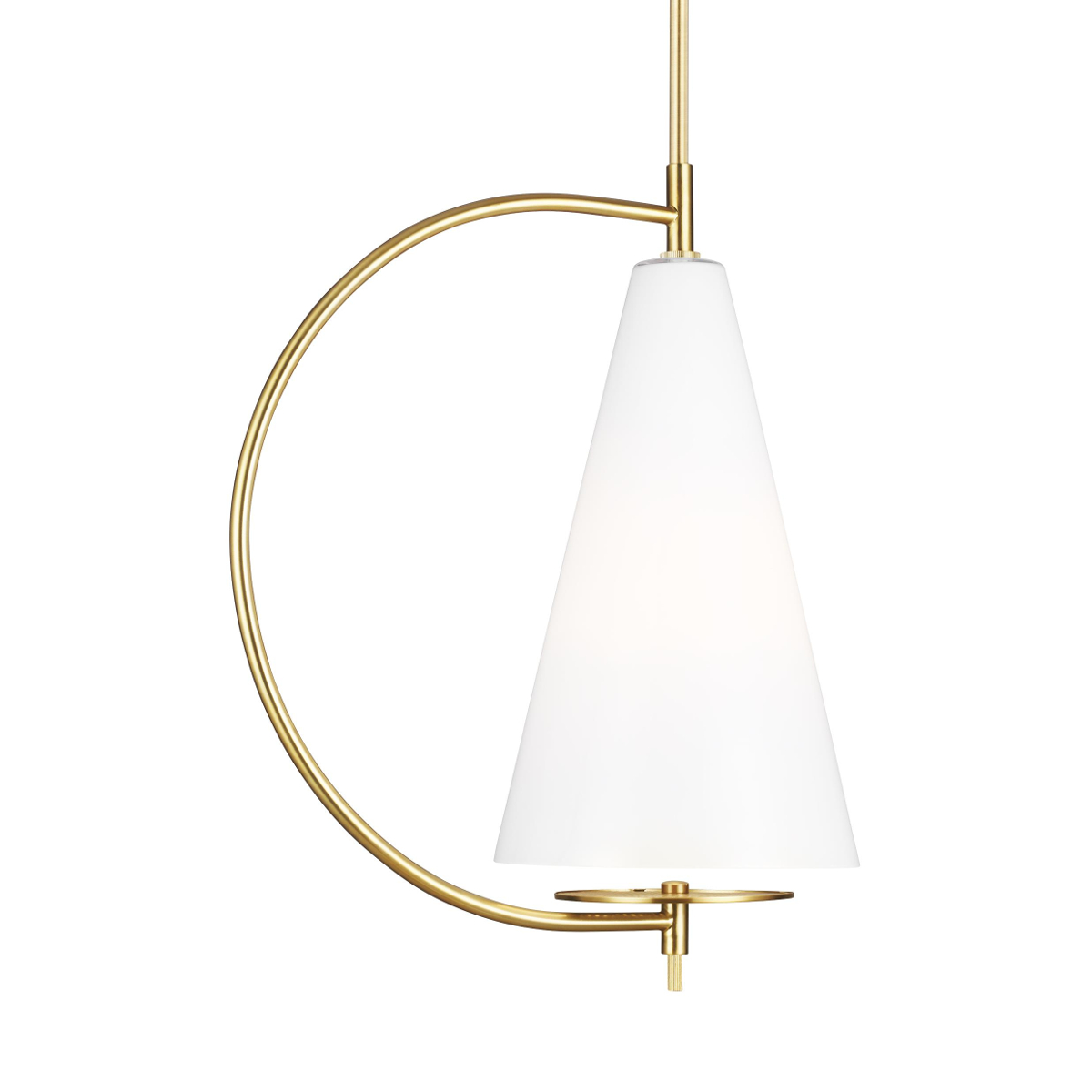 Burnished brass pendant with White shade