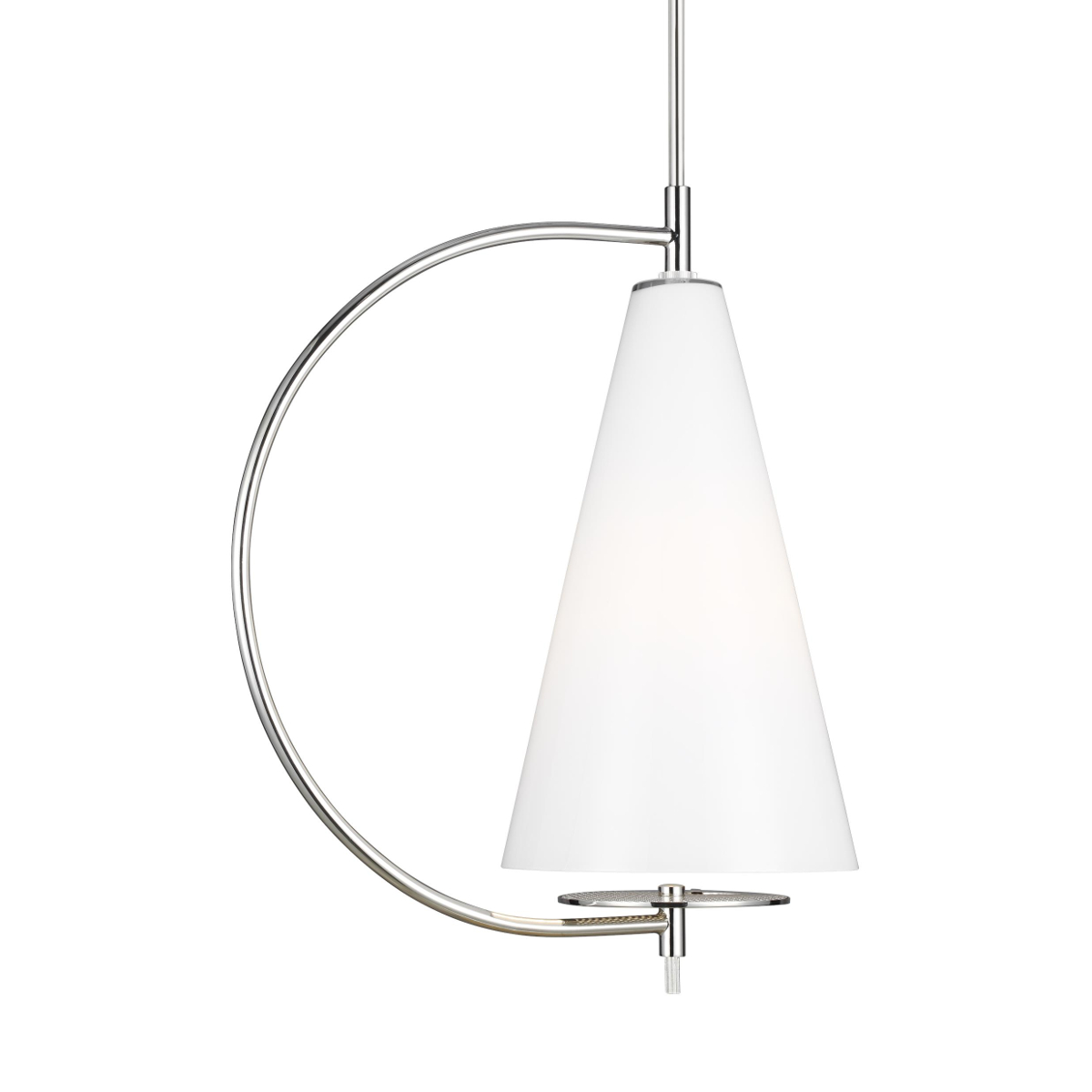 Polished Nickel pendant with White shade