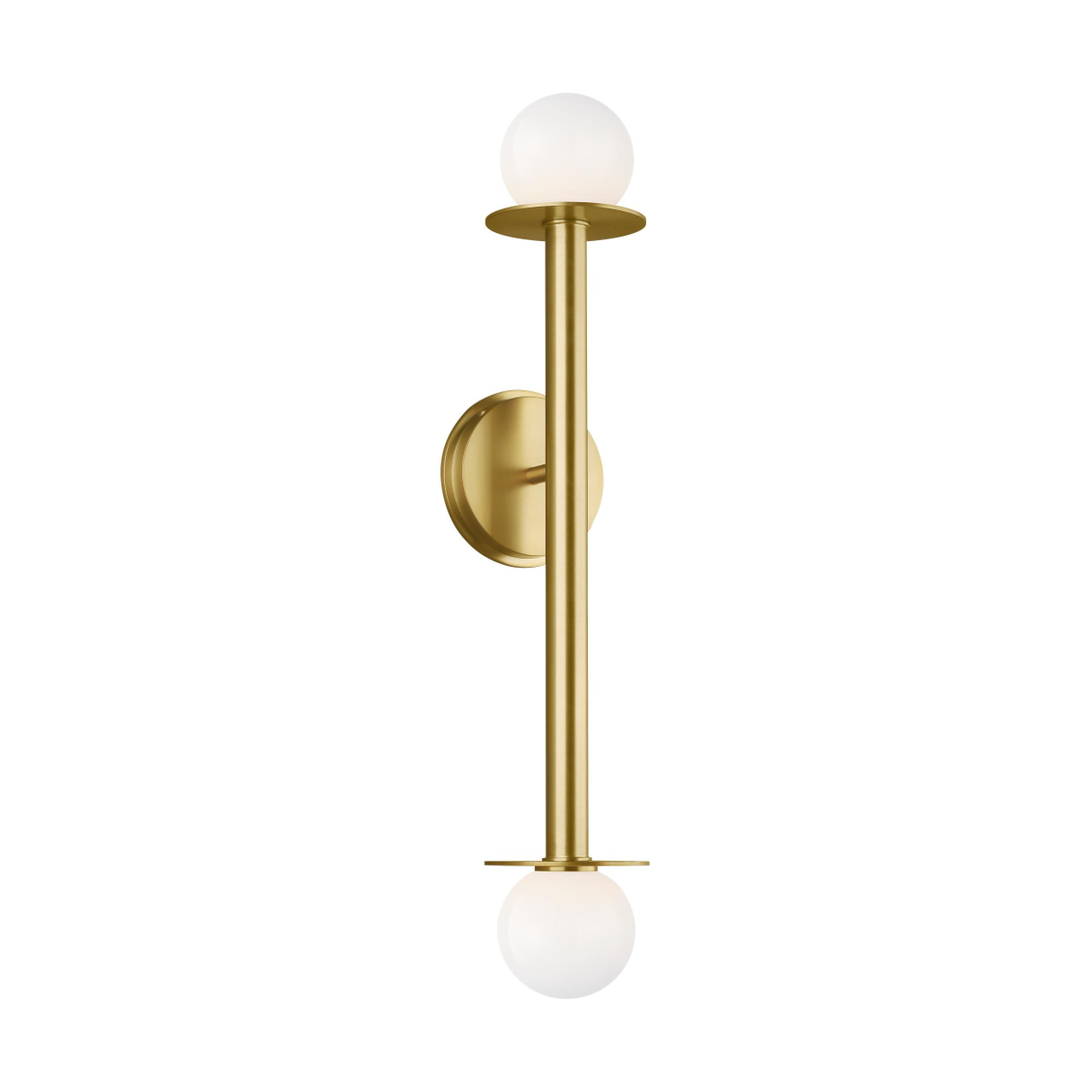 two round white balls at either end of a thick steel vertical brass rod with round mounting base