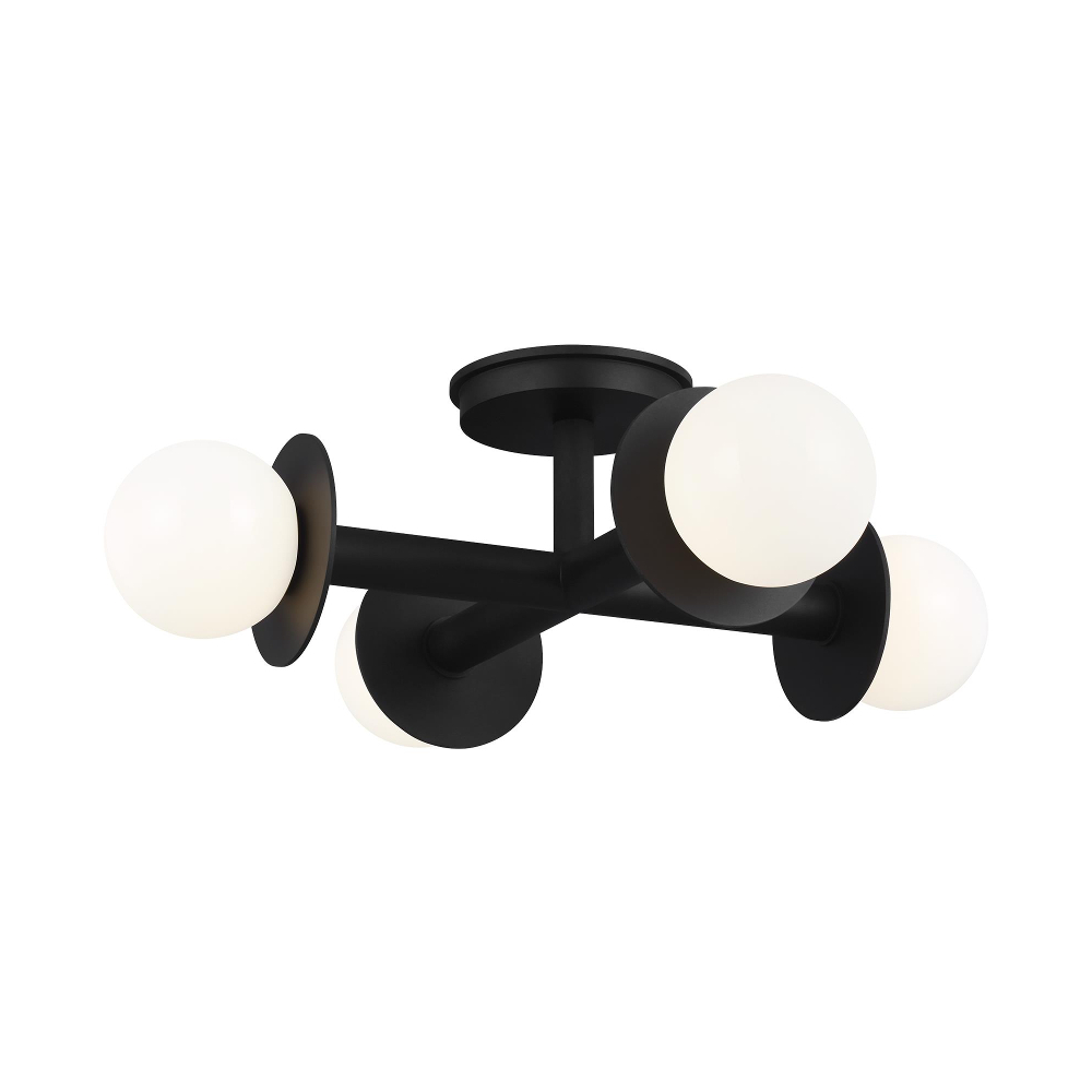 4 light close to ceiling light, black fitting comprised of 4 rods with white balls at the end of each one