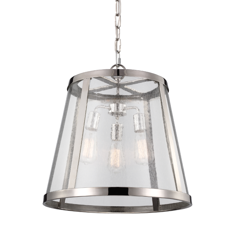 Harrow Polished Nickel 3 Light Pendant with Clear Glass