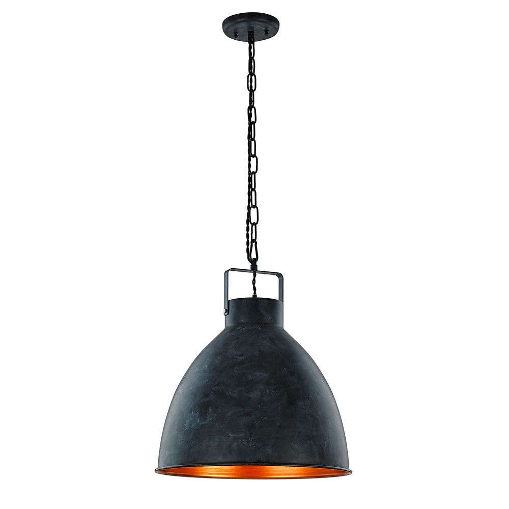 Large Industrial Shade Mottled Ebony on the outside with Orange Gold Finish on the inside