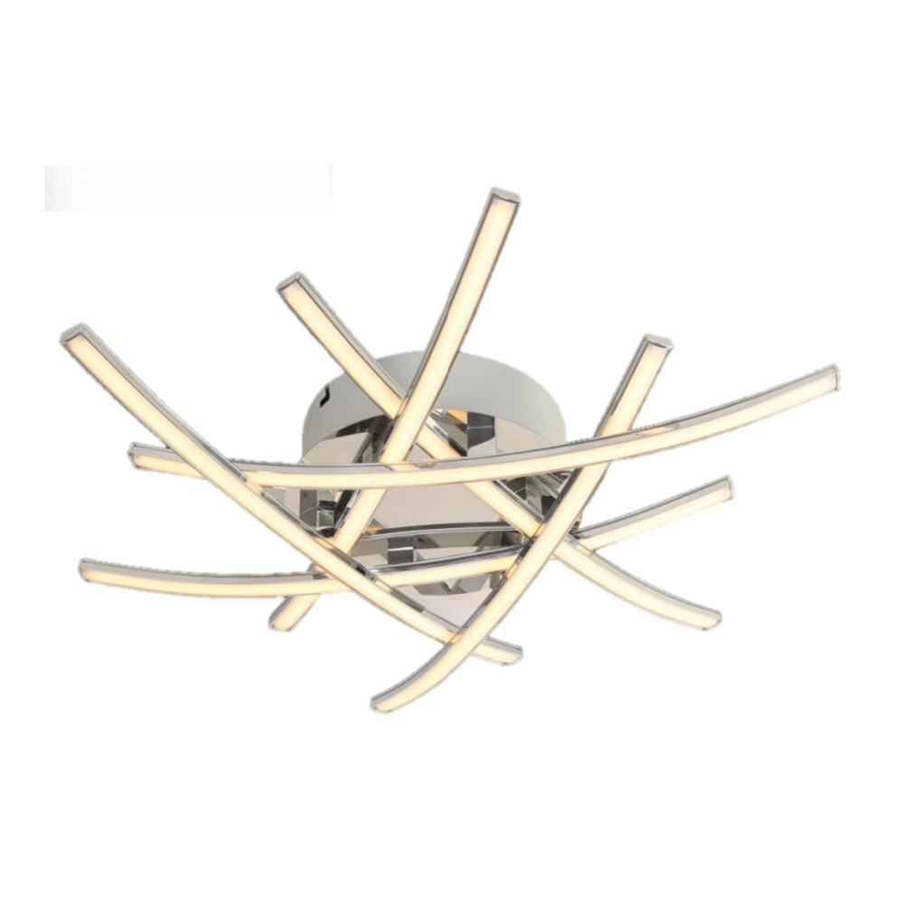 strip of chrome with opal diffusers overlay each other on this ceiling light