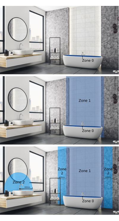 3 seperate images each showing the locations of the bathroom wet zones
