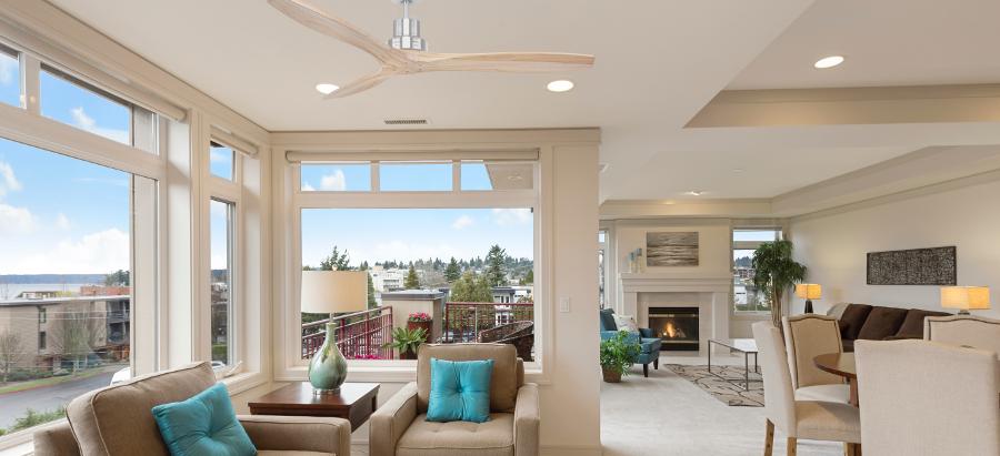 Wooden Bladed Ceiling Fan in Lounge Space