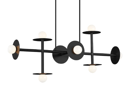 Linear 8 Light Pendant Black with White Glass