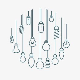 a selection of line drawings of light bulbs
