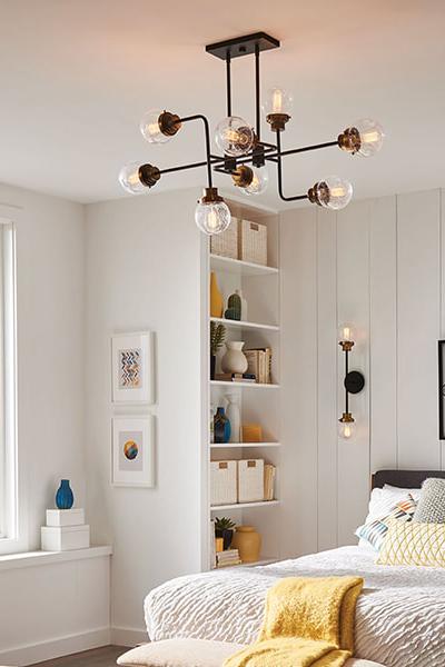Poppy 8 Light Ceiling light in a Bedroom
