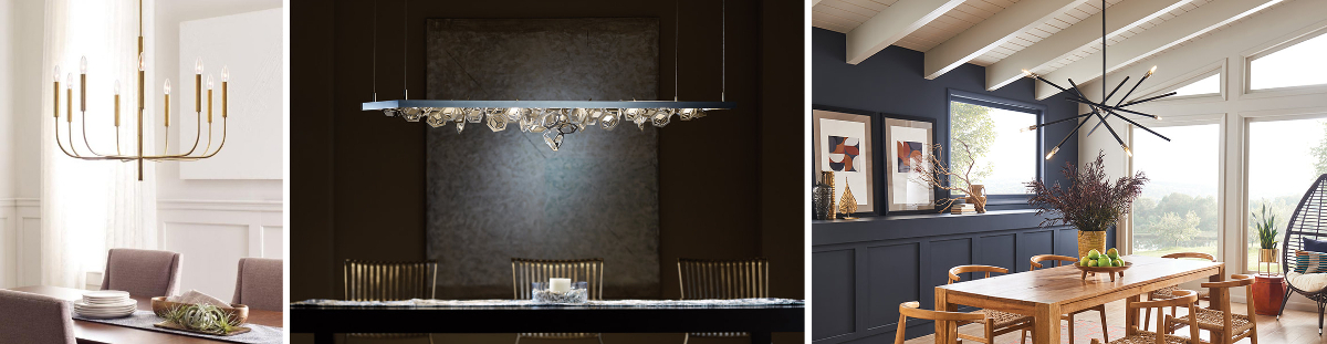 Set of 3 images of pendants over dining tables