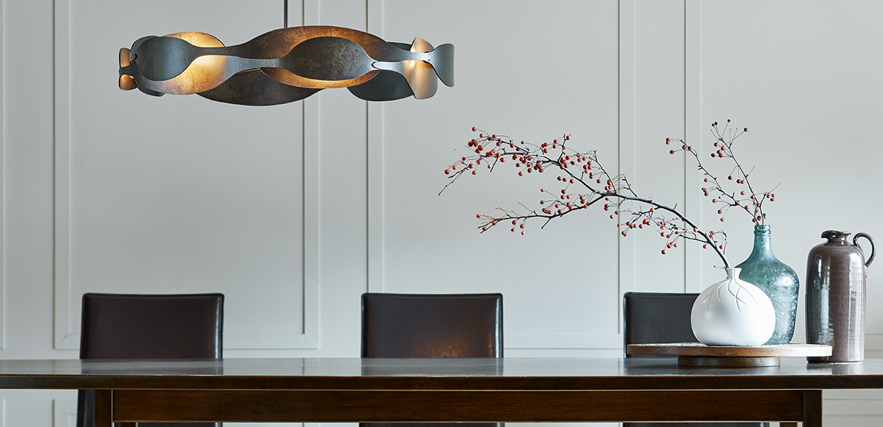 hubbardton Forge Waves pendant over Dining Table