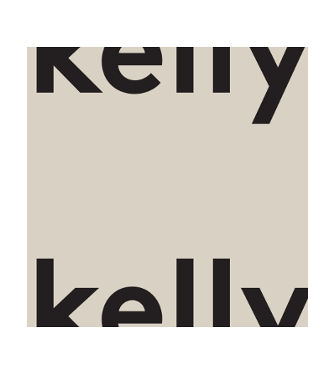 kelly logo, the word kelly is cut in half with the top half at the bottom of the box and the bottom half at the top of the box