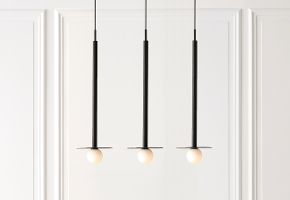 3 Nodes Pendants, long black cylinders with milk white glass balls